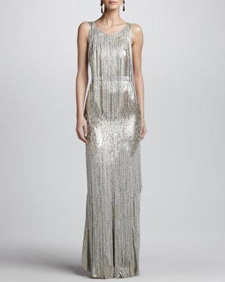 Oscar de la Renta Bead-Fringe Sleeveless Column Gown