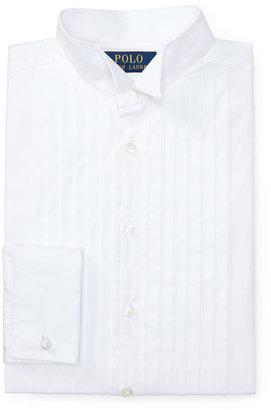 Ralph Lauren Kids Knife-Pleated Poplin Dress Shirt, White, Boy's Sizes 4-7