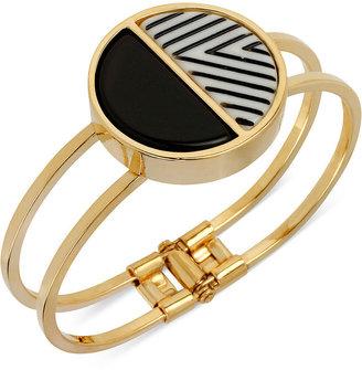 Kenneth Cole New York Bracelet, Gold-Tone Striped Geometric Hinged Bangle Bracelet