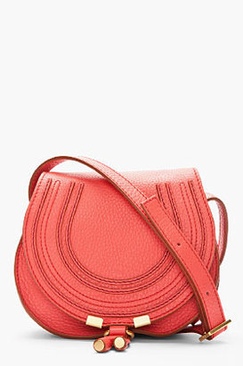 Chloé Small Coral Pink Leather Marcie Shoulder Bag