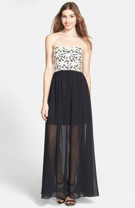 Betsey Johnson Laser Cut Faux Leather & Chiffon Maxi Dress