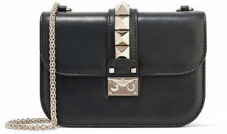 Valentino Lock Small Leather Shoulder Bag - Black