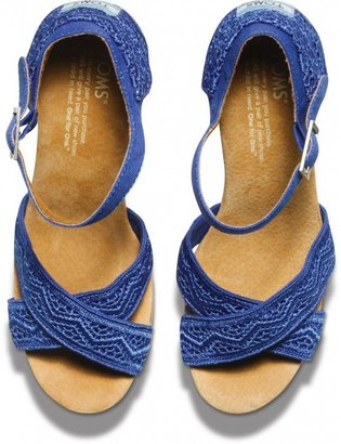 Toms Cobalt crochet women's strappy wedges