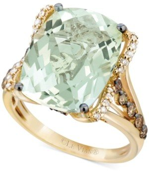 LeVian Le Vian Mint Julep Quartz (9-3/4 ct. t.w.), White Diamond (1/8 ct. t.w.) and Chocolate Diamond (3/8 ct. t.w.) Ring in 14k Gold, Created for Macy's