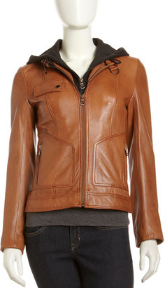 Marc New York Decoy Removable-Hoodie Leather Jacket, Cognac