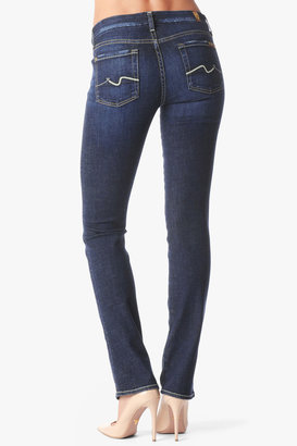 7 For All Mankind Kimmie Contour Straight In Distressed Royal Blue