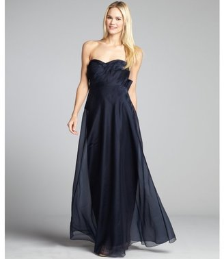 Phoebe Couture navy silk shantung pleated sweetheart strapless gown
