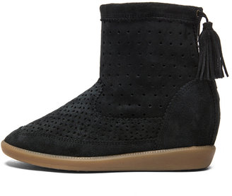 Isabel Marant Basley Calfskin Velvet Leather Boot in Faded Black