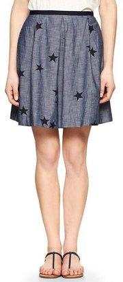 Gap Pleated star chambray skirt