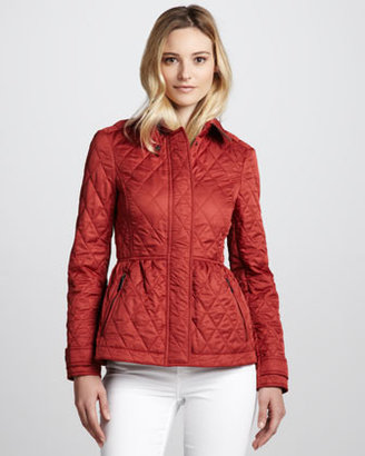 Burberry Quilted Cinch-Wast Jacket, Copper Pink