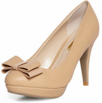 Dorothy Perkins Camel high bow detail court shoes