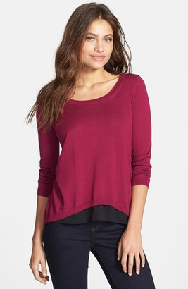 Kenneth Cole New York 'Sagit' Chiffon Inset Scoop Neck Top (Petite)