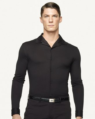 Ralph Lauren Black Label Long-Sleeved Cotton Jersey Button-Down Shirt