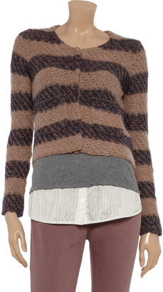 See by Chloe Striped cotton and mohair-blend cardigan