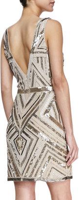 Nicole Miller Chevron-Sequin V-Neck Cocktail Dress