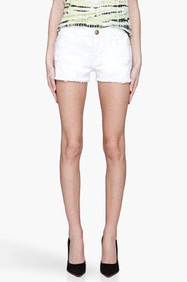 Current/Elliott White distressed The Boyfriend Shorts