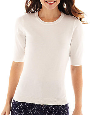 Liz Claiborne Elbow-Sleeve Knit Sweater