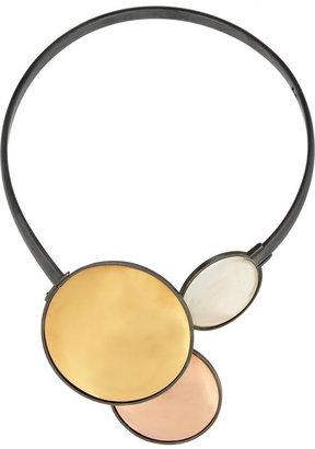 Bottega Veneta Oxidized silver, gold-plated and rock crystal necklace