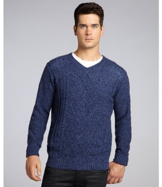 Harrison blue moon combo chunky tweed cashmere v-neck sweater
