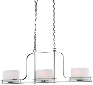 Illumine 3-Light Polished Nickel Island Pendant with Oval Frosted Glass Shade