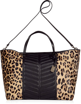 Valentino Black and beige leopard tote