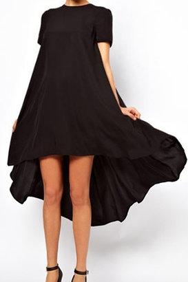 Romwe Asymmetric Pleated Sheer Black Dress