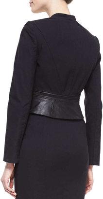 Zac Posen Daria Leather-Collar Cropped Jacket