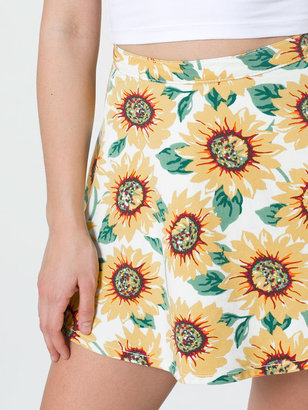 American Apparel Sunflower Print Stretch Bull Denim Circle Skirt
