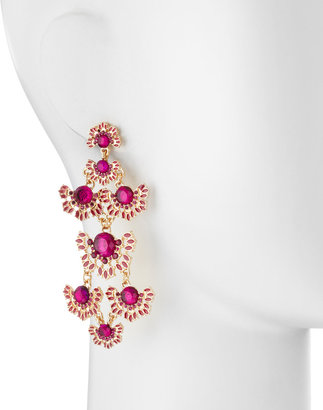 Fragments for Neiman Marcus Gem Flower Chandelier Earrings, Fuchsia