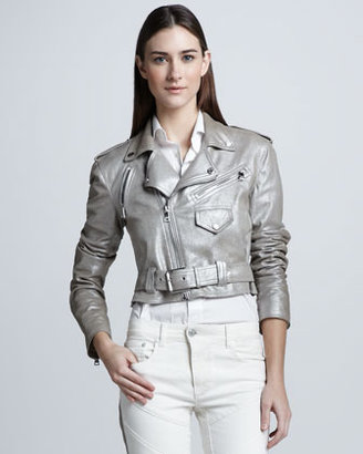 Ralph Lauren Black Label Metallic Suede Biker Jacket, Silver