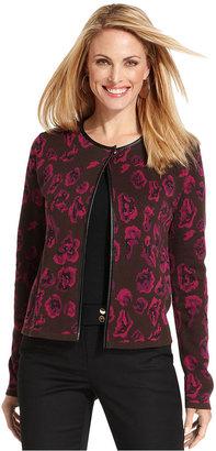 Charter Club Jacket, Floral-Print Pleather-Trim