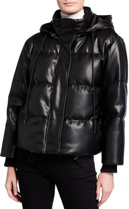 Alice + Olivia Robinson Faux-Leather Cropped Puffer Jacket w/ Hood