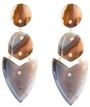 Kara Ross Gold, Agate and Diamond Arrow Earrings