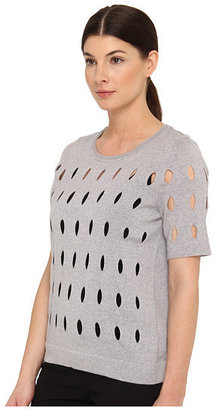 Tibi Hole Knit Sweaters All Over Hole Knit Shirt Pullover