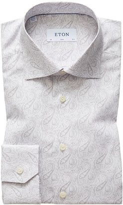 Eton Light Grey Paisley Poplin Shirt - Slim Fit