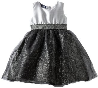 So La Vita Girls 2-6x Flocked Taffeta With Satin Sash Dress