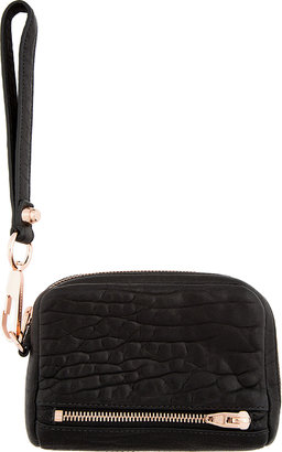 Alexander Wang Black Grained Leather Fumo Wristlet Wallet