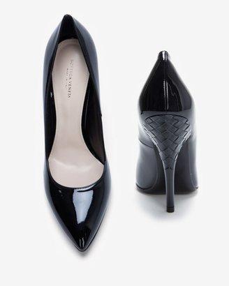 Bottega Veneta Intrecciato Heel Detail Patent Leather Pointy Toe Pump