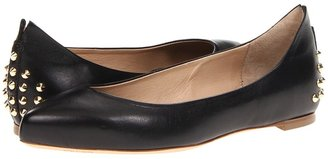 McQ by Alexander McQueen Studded Pointy Flat (Black Veg Kid Leather) - Footwear