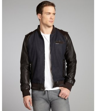 Members Only navy denim and cigar brown faux-leather bomber jacket