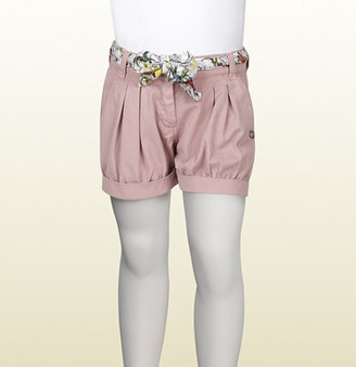 Gucci Vintage Rose Cotton Gabardine Short With Flora Infinity Print Belt