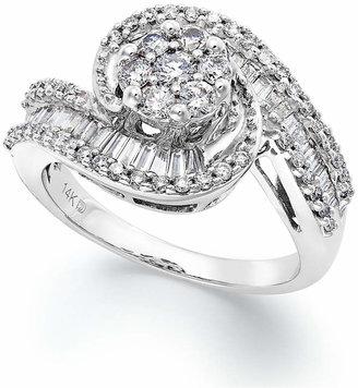 Macy's Diamond Cluster Swirl Ring in 14k White Gold (1 ct. t.w.)