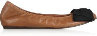 Lanvin Grosgrain Bow-Detailed Leather Ballet Flats