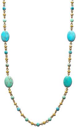 Lauren Ralph Lauren Gold-Tone and Turquoise Beaded Long Chain Necklace