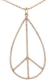 Sydney Evan Large Teardrop Peace Sign with Diamonds