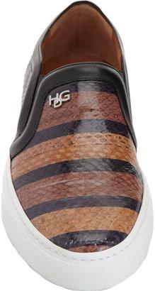 Givenchy Striped Snakeskin Slip-On Sneaker