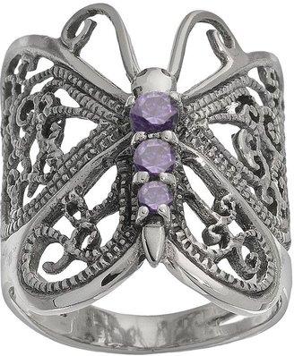Sterling Silver Purple Cubic Zirconia Butterfly Ring