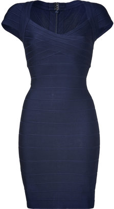 Herve Leger Blue Cap Sleeve Bandage Dress