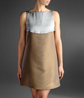 Emporio Armani Runway Dress In Two-Color Crêpe With Flounces