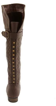 Charlotte Russe Studded Knee-High Buckle Boot